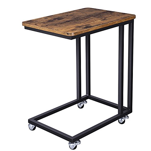 VASAGLE Industrial Side Table, End Table for Coffee Laptop Tablet, Mobile Table with Rolling...