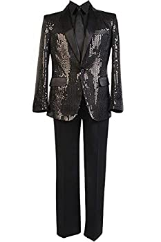 Cosplaysky Daft Punk Costume Sparking Black Sequin Performance Outfits Medium