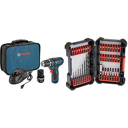Bosch Power Tools Drill Kit - PS31-2A - 12V, 3/8 Inch, Two Speed Driver, Cordless Drill Set, Blue & 40 Piece Impact Tough Drill Driver Custom Case System Set DDMS40
