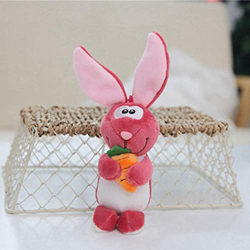 1pc Plush ToysLovely Rabbit Plush Toys Soft Stuffed Animals Mini Bunny Bag Pendant Plush Dolls Key Chain For Children Girls Gifts(12cm) Pink