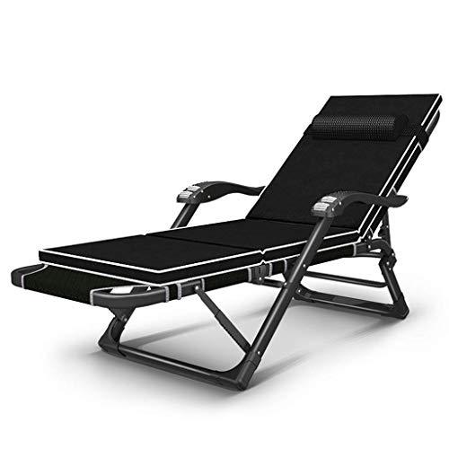 WYJW Draagbare Opklapbare Bed Nap Bed Eenpersoonsbed Kamp Bed Lounge Stoel Verstelbare Ligstoel Zonnebaden Strand Zwembad Bed Cot met Kussen (kleur: Stoel+kussen b)