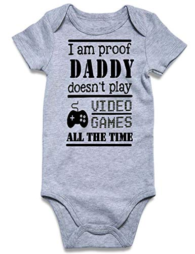 Loveternal Baby Boys I'm Proof Daddy Doesn't Play Video Games All The Time Onesie Cute One-Piece Aunt Onesie Romper Pajamas 6-12 Months Baby Girl Toddler Cotton Outfits Summer Gender Neutral Jumpsuit