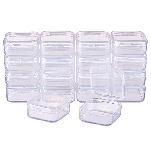 BENECREAT 18-Pack, quadratische durchsichtige Kunststoffperlen-Aufbewahrungsbehälter Schachtel mit Klappdeckeln für Kleinteile, Pillen, Kräuter, kleine Perlen, Jewerlry-Ergebnisse(3,7 x 3,7 x 1,8cm)