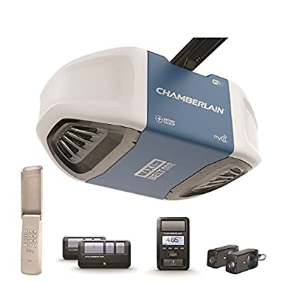 Chamberlain B970 Smartphone-Controlled Ultra-Quiet & Strong Belt Drive Garage Door Opener with Battery Backup and MAX Lifting Power, Blue