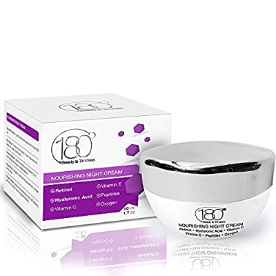 180 Cosmetics Night Cream - Nourish Your Skin Over Night - Enriched with Hyaluronic Acid, Vitamin E and Peptides - Anti Wrinkle Face & Neck Cream