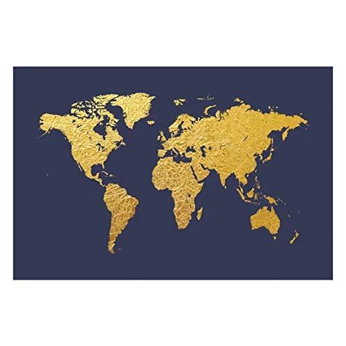WIOIW Moderno Abstracto Golden Ink Splash Graffiti Mapa del Mundo Global Canvas Painting Retro Wall Art Posters e Impresiones Sala de Estar Dormitorio Oficina Decoración del hogar
