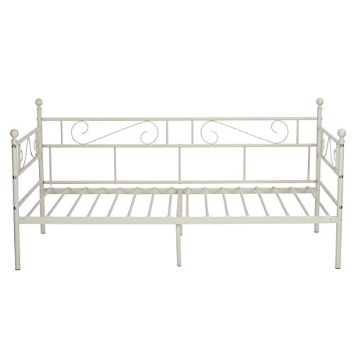GreenForest Daybed Twin Bed Frame with Headboard and Stable Steel Slats Mattress Platform Base Boxspring Replacement Easy Assembly for Living Room Guest Room (Cream)