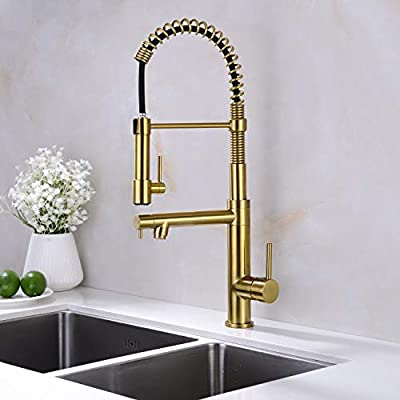 Kitchen Faucet,Spring Kitchen Faucet,Pull Down Sprayer Gold Kitchen Faucet,Touch On Kitchen Sink Faucets