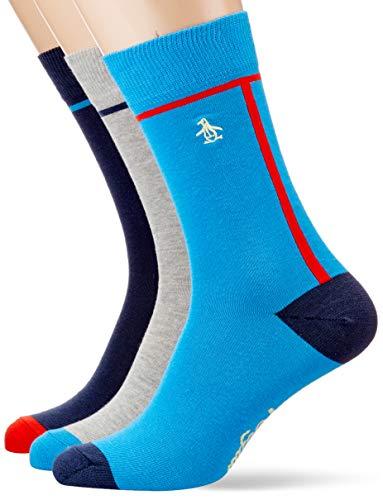 Original Penguin Herren MSHWP405STM Socken, Blau (Dress Blue 001), Einheitsgröße (Herstellergröße:40-45) (3er Pack)