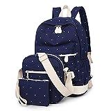jwj Bolsas escolares 3 unids/set mujeres mochilas escolares lindas mochilas con mochila de hombro (color azul marino)