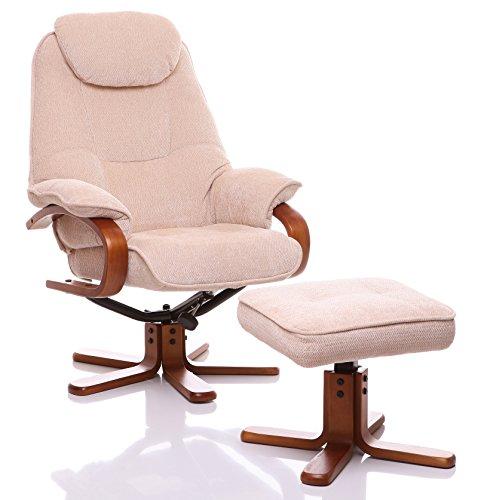 Oriental Leather Co Ltd Hong Kong Giratorio reclinable y reposapiés Color: Beige