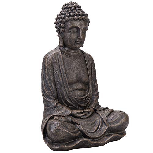 MyGift Decorative Seated Shakyamuni Resin Bronze Buddha Statue