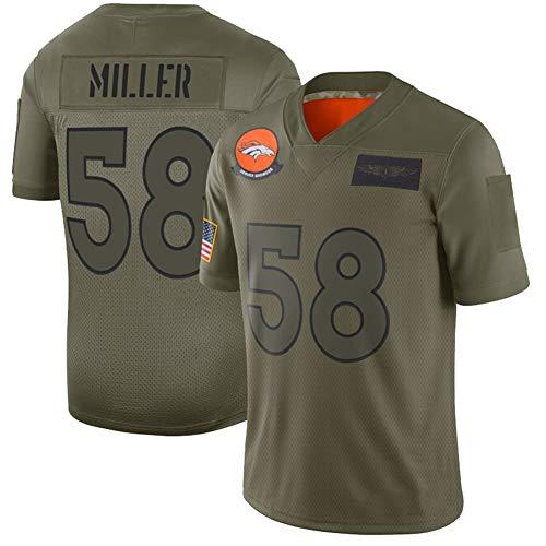 Miller American Football Trikot # 58 Broncos, Rugby Jerseyt-Shirt Schweißableitendes schnell trocknendes Jugendtraining Klassisches Kurzarm-ArmyGreen-M