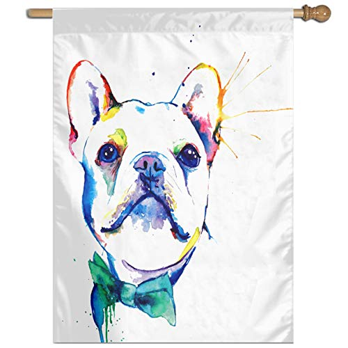 RELAXLAMA Cute Brindle Frenchie Puppy Gift for Kids Children Funny Yard Flags 27x37 Inches USA House Outdoor Decorative Banner for Yard Lawn