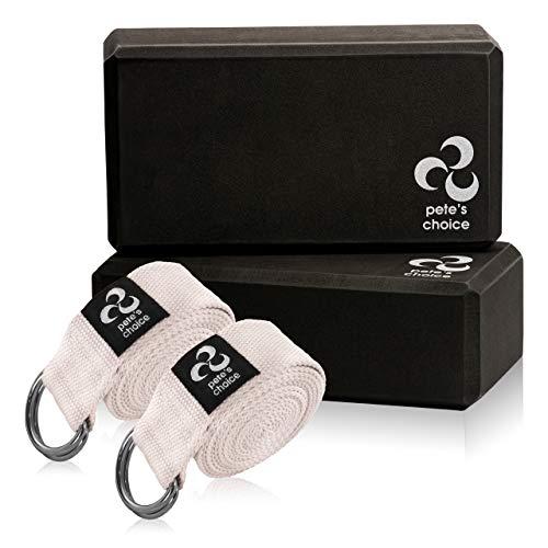 2 Bloques de Yoga + 2 Correas de Yoga - Set Accesorios de Yoga para Principiantes | Yoga Accesorios para Ejercicos en Casa