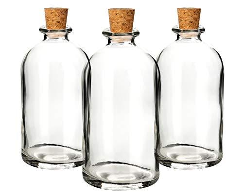casavetro Bouchon en liège Transparent Bouteilles en Verre vides 100 ML-couvercles en liège réutilisables Rechargeables-étanche à L'Air pour Sloe Gin Huile Bière Cidre Soda Vodka et Eau (25 x 100 ML)