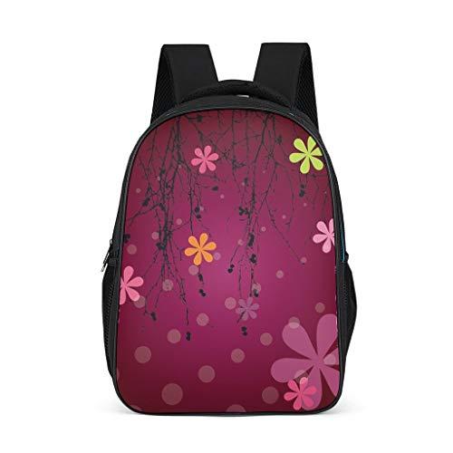 Hinfunees Mochila multicolor con diseño de plantas florales para libros, mochila para niños, mochila vintage para mujer, gris brillante., talla única