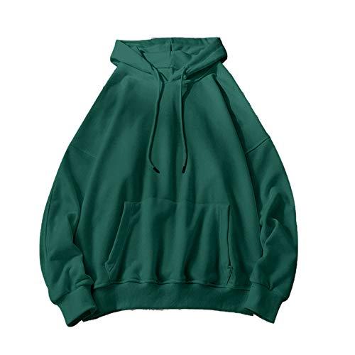 Sudaderas para mujer Sólido 12 Colores Coreano Femenino con Capucha Pullovers 2020 Algodón Espesar Caliente Oversize Sudaderas Mujeres-Verde Oscuro-XXXL
