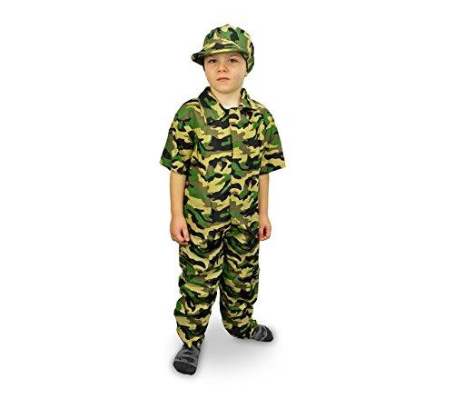 MEDIA WAVE store 619397 Costume Carnevale Travestimento Militare da Bambino da 3 a 5 Anni
