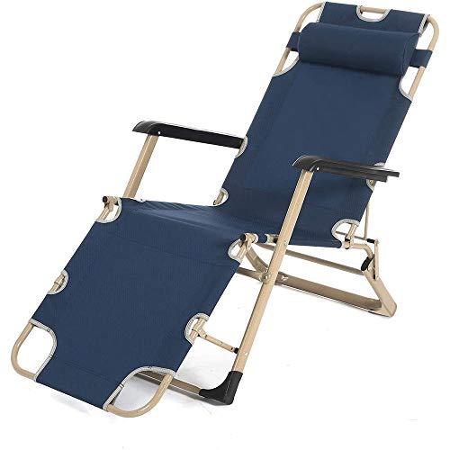 Lumiereholic silla de jardín silla de relax silla plegable Tumbona de jardín ajustable reposacabezas acero reposapiés tumbona para casa oficina Azul