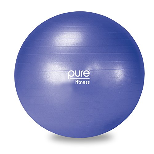 Pure Fitness 65cm Professional Anti-burst Exercise Stability Ball, Pump Included, 350lb weight limit, Blue (65 cm)