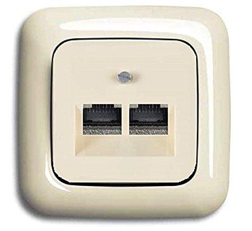 BUSCH JÄGER Komplettset / 2er Netzwerkdose - 2-fach UAE Anschlussdose Cat.6A UAE 0218/12-101 + 1 Fach Rahmen + Abdeckung - DURO 2000 cremeweiß