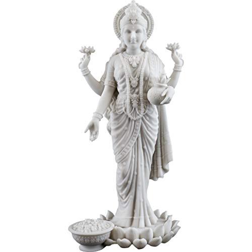 Generic Top Collection Lakshmi Statue in weißem Marmor-Finish – Hindu-Göttin von Reichtum, Wohlstand, Weisheit und Glück, 26 cm