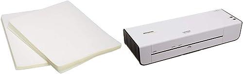 AmazonBasics Thermal Laminator Machine & Clear Thermal Laminating Plastic Paper Laminator Sheets - 8.9 Inch x 11.4 In...
