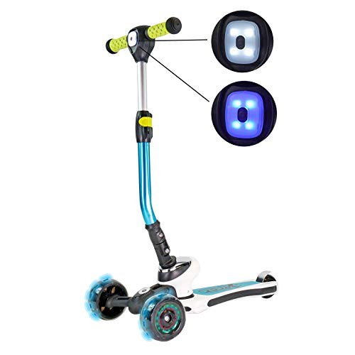 Best Sporting 3-Rad Kinder Scooter Space mit LED Lampe + LED Rädern, türkis-weiß