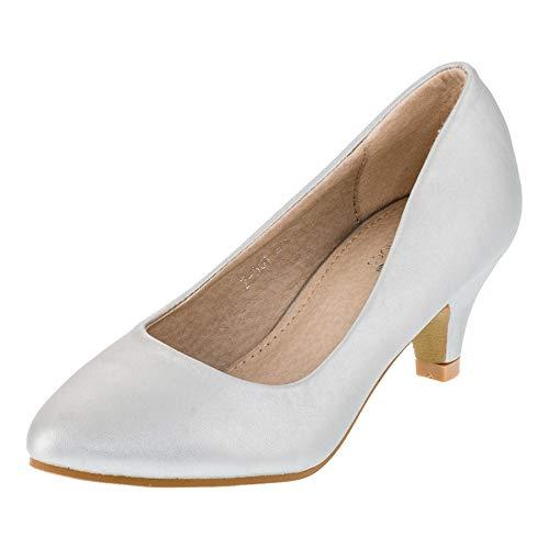 Festliche Mädchen Pumps Ballerina Schuhe Absatz Glitzer in vielen Farben M342si Silber 30