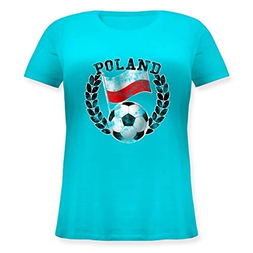 Fußball-Europameisterschaft 2020 - Poland Flagge & Fußball Vintage - S (44) - Hellblau - Patriot - JHK601 - Lockeres Damen-Shirt in großen Größen mit Rundhalsausschnitt