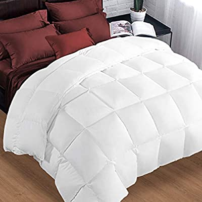 King Comforter Soft Warm Goose Down Alternative Duvet Insert 2100 Quilt with Corner Tab for All Season, Prima Microfiber Filled Reversible Hotel Collection,White,90 X 102 inch