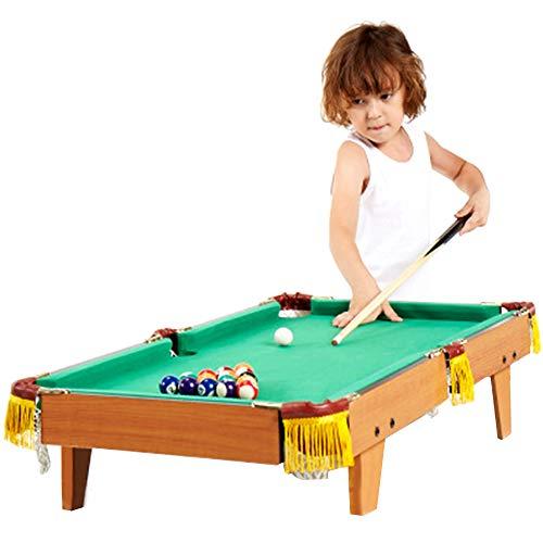 Hölzerner Billardtisch - Mini Pool Billard Tisch komplett mit 15 Bällen / 2X Queues/Stoffbürste/Dreieck Queues, Interaktives Spielzeug für Familienspaß