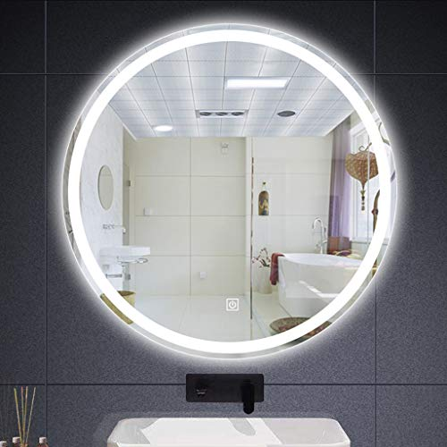 Makeup mirror Espejo de baño con Luces LED, Espejo de Maquillaje Moderno de Pared 50- * 90cm Espejo de baño retroiluminado sin Marco Redondo, Espejo de tocador Regulable Inteligente, Antivaho