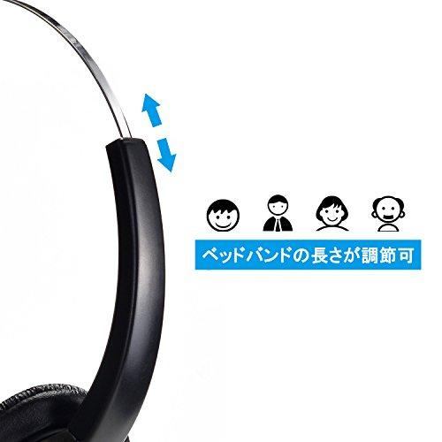 『AGPtek USBヘッドセット ハンズフリー片耳式USBエントリータイプ PCオーバーヘッドフォン ブラック』の3枚目の画像