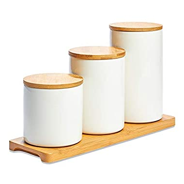 White Ceramic Kitchen Canisters, Set of Three with Real Bamboo Lids and Organizer Tray with Silicon Airtight Seals, for Dry Food Storage, Perfect for Coffee, Tea, Sugar, Spice, Candy, Cookies, Flour