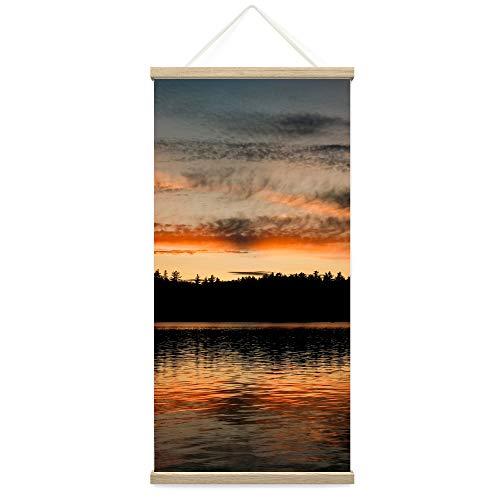 "Bestdeal Depot Hanging Poster Forest Skyline Sunset Coastal Orange Photography Relax/Calm Romantics Sunset Warm Canvas Prints Wall Art for Living Room, Bedroom - 18""x36"""