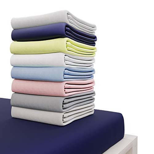 Dreamzie - Spannbettlaken 180x200 cm - 100% Jersey Baumwolle Zertifiziert Oeko-TEX® - Dunkelblau - Für Matratzen 180 x 200 x 27 cm