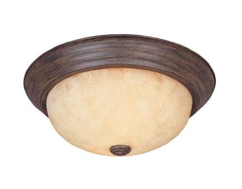 1257S-WM-AM Flushmount Ceiling Light Warm Mahogany 2-Light 11' Fixture