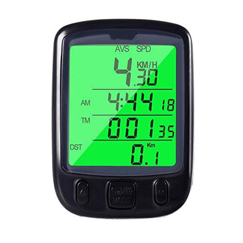 HJTLK Ordenador para Bicicleta, velocímetro con cuentakilómetros LCD Impermeable + Reloj retroiluminado...