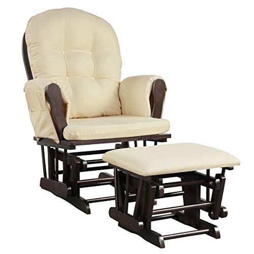 GYMAX Nursing Glider Maternity Chair, Glider and Ottoman Set with Removable Storage Pocket and Cushions, Rocking Chair for Bedroom & Living Room