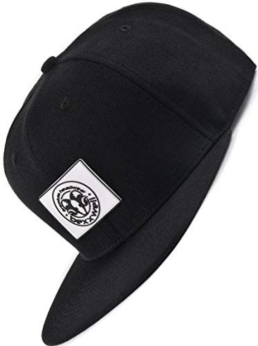 Bexxwell Snapback Cap schwarz mit Gummi-Patch eckig (optimale Passform, Kappe, Black, Gumpatch, Unisex)