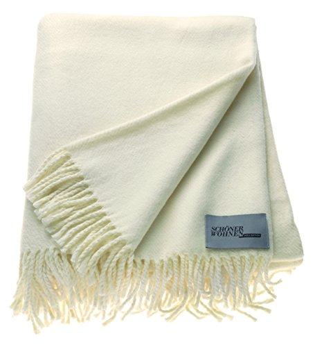 Schöner Wohnen Kollektion Tagesdecke 140x200 Baumwolle Mischung • unifarbene Kuscheldecke Basics • Sofadecke Creme