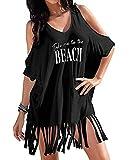 Vestido de Playa Mujer Camisolas y Pareos Trajes de baño borlas Playa Cubrir Blusas Chales Bikini Cover ups Borla Camisola Playero Ropa Verano Vestido Negro