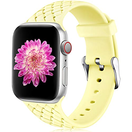 Oielai Compatible con Apple Watch Correa 38mm 40mm 42mm 44mm, Impermeable Suave Silicona Tejido Deportes Reemplazo Correas para Iwatch Serie 5 6 4 3 2 1 SE, Mujeres Hombres, Pequeña Amarillo Leche