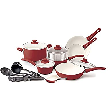 GreenLife Soft Grip 16pc Ceramic Non-Stick Cookware Set, Burgundy