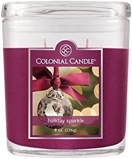 Colonial Candle 8-Ounce Oval Jar Candle, Holiday Sparkle