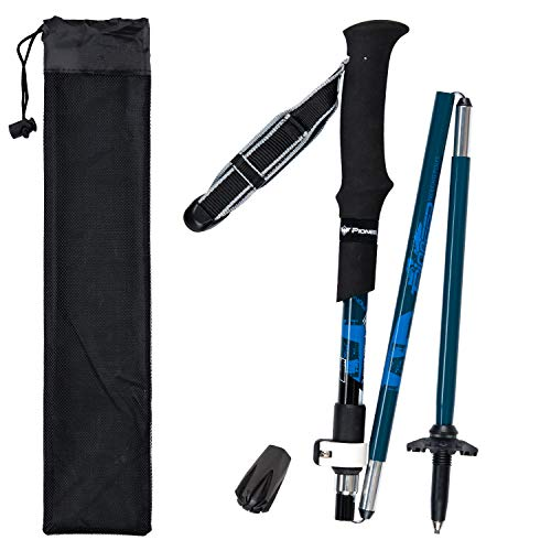 Lysport Tri-Fold Carbon Fiber Trekking Pole Climbing Stick - Folding Telescopic Collapsible Adjustable and Ultralight for Outdoor Walking Hiking Backpacking and Snowshoeing-1 Piece