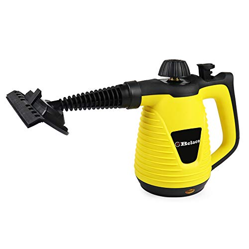 Belaco Multipurpose Steam Cleaner HandHeld with 9 Pieces Accessory kit for Multipurpose Yellow portable steamer for stain removing tiles kitchen bathroom garment car seats & more 1050W British Plug