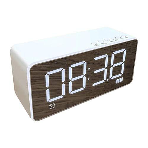 Yi-xirfashion Design Bluetooth-Radio-Lautsprecher 3,5-mm-AUX-Buchse-Spiegel-LED-Digitalanzeige FM-WLAN-Lautsprecher-Wecker-Spieler-Player Wireless Portable travel (Color : White)